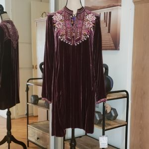 Nwt Johnny Was embroidered Velvet Tunic dress S
